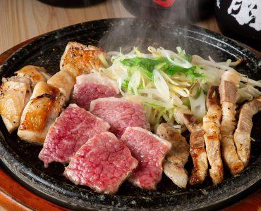 【鹿児島県が誇る三つの黒の溶岩焼き盛り合わせ】黒牛、黒豚、黒さつま鶏